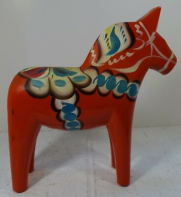 "#ABC201 SWEDISH FOLK ART RED DALA HORSE, 10"" HIGH, BY Nils Olsson, VINTAGE"