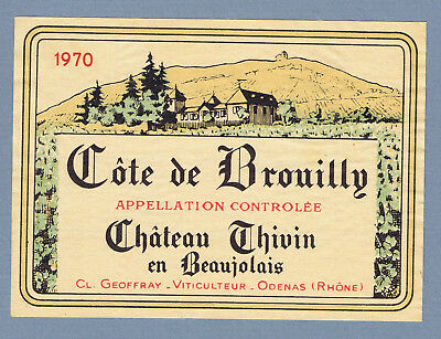 Vintage unused 1970 Chateau Thivin Cote de Brouilly french Wine label 2109