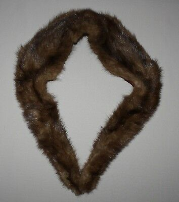 Vintage Genuine Fur Collar Scarf Stole Brown Hook