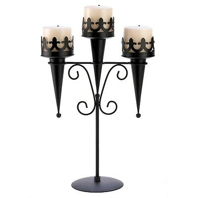 Black Iron Gothic Triple Pillar Candle Holder Stand