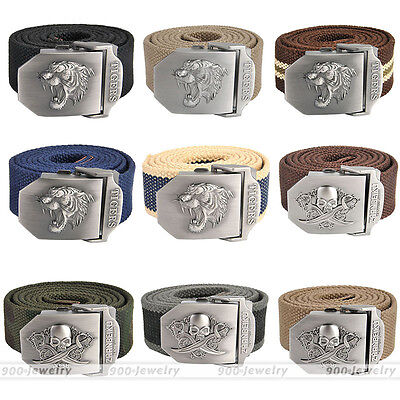 Fashion Men Tactical Belt Automatic Metal Buckle Army Canvas Belt Military Style