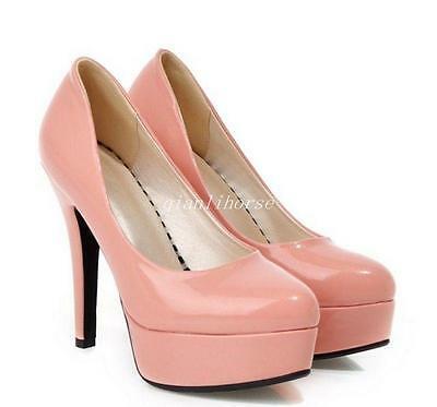 Womens Patent Leather Round Toe Shiny Solide Platform Stiletto Wedding Shoes Sz