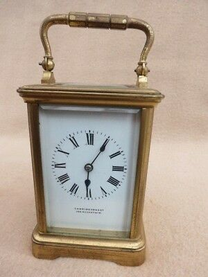 Antique 8 Day French G B & E Striking Brass Carriage Clock For Spares Or Repair