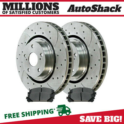 New Front Drilled and Slotted Brake Rotors w/Ceramic Pads Set fits Toyota Lexus