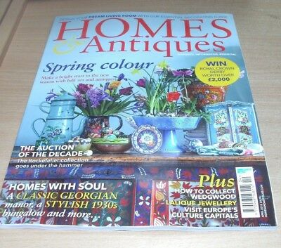 Homes & Antiques magazine APR 2018 Folk Art, Rockefeller Collection, Wedgwood &