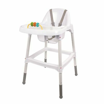 Childrens Kids Baby High Chair With Tray&Toy Feeding Safety Belt Food 6 M+ White