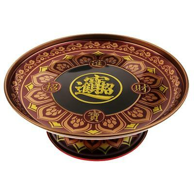 Buddhist Supplies Fruit Plate Exquisite Lucky Fortune Dish Home Decor 9 inch