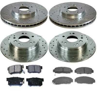 P0394 FRONT REAR PERFORMANCE DRILLED BRAKE ROTORS AND 8 CERAMIC PADS