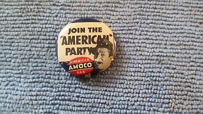 Vintage Amoco Join The American Party Pinback Button American Oil Company