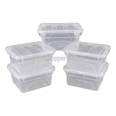 NEW Pack Of 5 Spacemaster 02 Litre Clear Plastic Storage Boxes Box With Lids