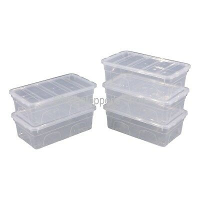 NEW Pack Of 5 Spacemaster 05 Litre Clear Plastic Storage Boxes Box With Lids