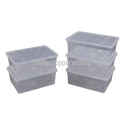 NEW Pack Of 5 Spacemaster 11 Litre Clear Plastic Storage Boxes Box With Lids