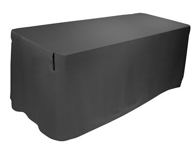 Form Fitted Table Cover, Black 8 Foot
