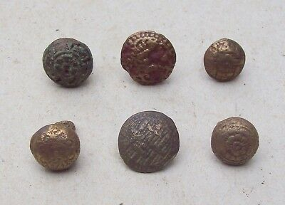 Dug Nice Lot of 6 Bronze Buttons From The Early 1600's Detecting Finds