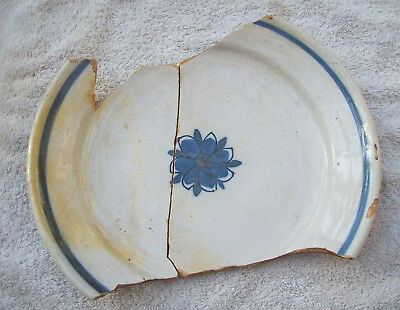 Dug Two Matching Parts of a Delft Ware Maiolica Faience Plate 1600's/1700's