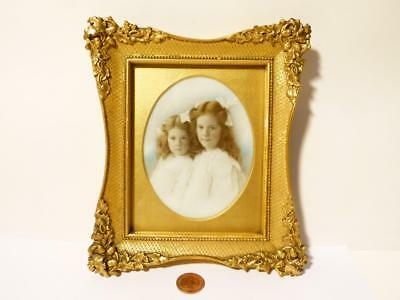 19thC Gorgeous Portrait Miniature 2 Young Girls on Milk Glass Gesso Framed