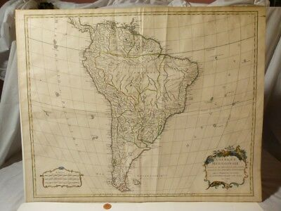 1740 Antique SOUTH AMERICA Map Robert de Vaugondy AMERIQUE
