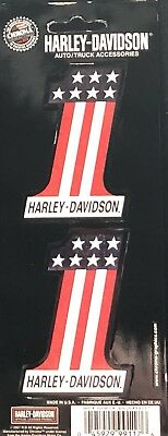 "Harley Davidson Decals Number 1 Patriotic 2 Perfectly Sized 3"" Shiny Graphics"