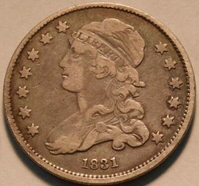 1831 Capped Bust Quarter, Middle Grade, Scarce Type Coin, Original Silver 25C