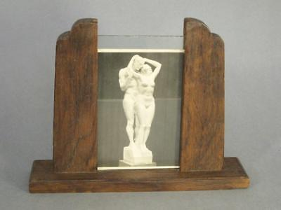 BEAUTIFUL ANTIQUE ART DECO OAK & GLASS DOUBLE SIDED PHOTOGRAPH FRAME 1920s