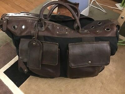 06b771f00830 Will Leather Good Canvas And Leather Travel Duffle Bag Excellent Condition