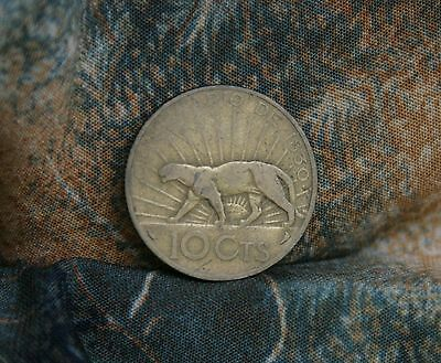 1930 Uruguay 10 Centesimos World Coin KM26 South America Sun Face Puma Animal