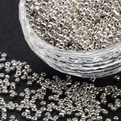 SILVER METALLIC GLASS SEED BEADS 50g 11/0- 2mm 8/0 3mm 6/0 4mm