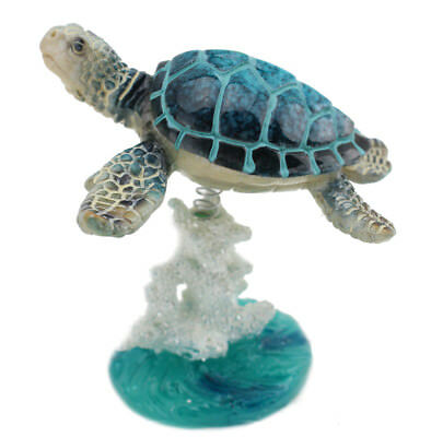 Glazed Sea Turtle On White Blue Coral Base Statue Wiggles Jiggles US Seller