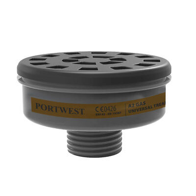 Portwest - Pack of 6 Class A2 Gas Filters Universal Thread Black Regular