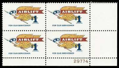 #1341 Mint NH 1968 Airlift Stamp for US Servicemen PLATE # BLOCK $13.50 Retail