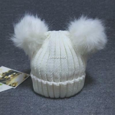 Casual Kids Toddler Faux Fur Pom-pom Double Ball Hat Beanie Knit Cap N4U8