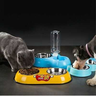 Automatic Pet Feeder Dispenser Waterer Dog Cat Self Feeding Food Water Bowl Blue