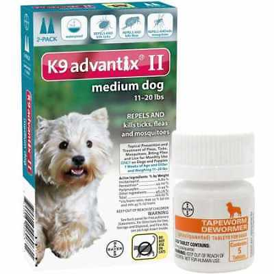 2 MONTH K9 Advantix II TEAL for Medium Dogs 1120 lbs + Tapeworm Dewormer for