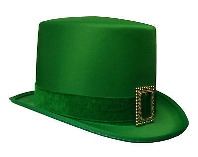 St. Patricks Day Top Hat Green Satin With Buckle Adult Leprechaun Costume Hat