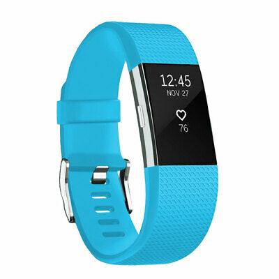 For Fitbit Charge 2 Band Bracelet Strap Replacement Silicone Large Sky  Blue