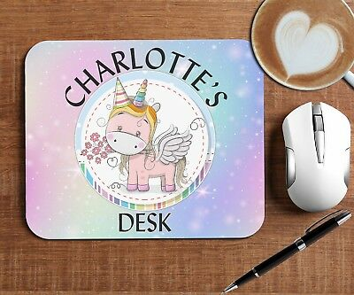 Personalised Rainbow Unicorn Mouse Mat Pad for Computer Any TEXT, Soft Fabric.