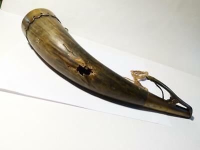 c1800 Napoleonic Naval Brass & Cow Bovine Powder Horn Musket Shot Hole !!
