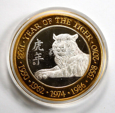 Eastern Astrology Series 1/2 Oz .999 Silver Casino Strike - Year of the Tiger