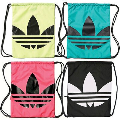 adidas Originals Trefoil Logo Gymsack Drawstring Bag With Pocket Black Green