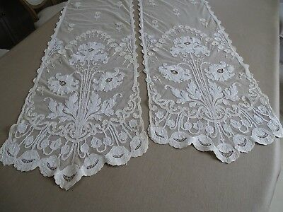 Art Nouveau French Pair Creamy Tambour Lace Curtains Embroidered Flower Scrolls