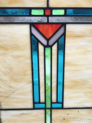 "Antique Arts & Crafts Stained Leaded Glass Window 25"" by 18"" Circa 1915"