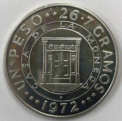 1972 Dominican Republic Proof Silver Peso - Low Mintage Only 3K Pieces Km#34