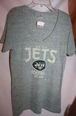 11093e4c3 MAJESTIC New York Jets M Heather Green Football V-neck Tee Top T-