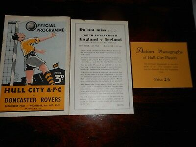 HULL CITY  v  DONCASTER ROVERS    1948/9  ~ MAY 4 HULL CITY CHAMPIONS + FLYERS