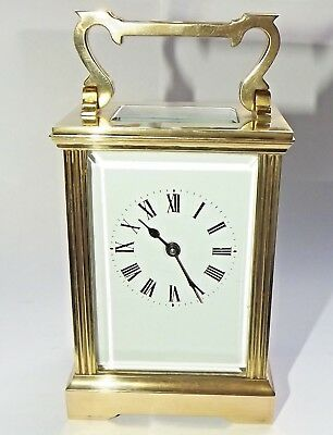Fine Quality Vintage Brass Carriage Clock Eight Day Swiss Movement Working