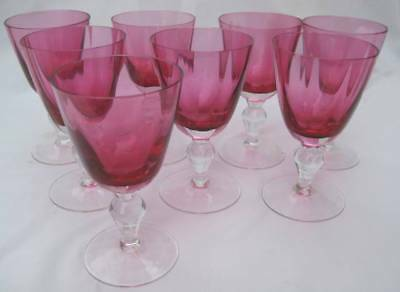 8 Antique Victorian Hand Blown Cranberry Clear Art Glass Cordial Sherry Stems