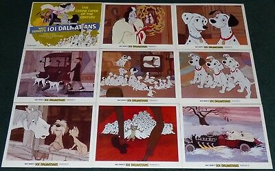 Walt Disney 101 Dalmatians Original R 1979 Lobby Card Set Of 9 Cruella De Vil