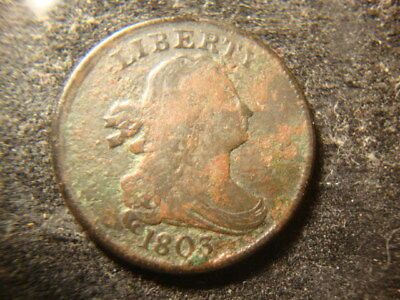 1803  Full Date Draped Bust Half Cent Decent Dated  Coin