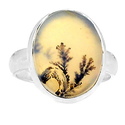 Scenic Dendritic Agate 925 Sterling Silver Ring Jewelry s.7.5 SDAR714