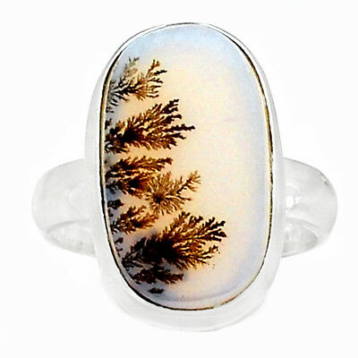 Scenic Dendritic Agate 925 Sterling Silver Ring Jewelry s.6.5 SDAR746